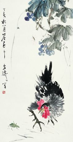 Pin by Sand ToEachOther on Zen-Japanese & chinese Painting Rooster Painting, Rooster Art, Japan Painting, Ink Painting, Sparrow Art, Pencil Drawings Of Animals, Chicken Painting, Tinta China, China Art