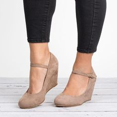Achieve a stylish, chic look with these wedges! Featuring a Mary jane wedge silhouette, these will turn your wardrobe basics up a notch - Material: Faux Suede - Toe shape: Round - Heel height/ty Ankle Strap Heels, Ankle Straps, Wedge Heels, Wedge Pump, Shoes Heels Wedges, Wedge Sneakers, High Heels, Pump Shoes, Shoe Boots