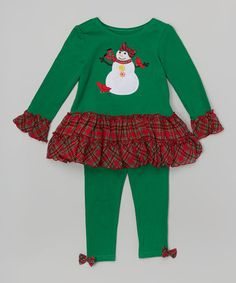 Another great find on #zulily! $9.99 Green & Red Snowman Tunic & Leggings - Toddler & Girls #zulilyfinds
