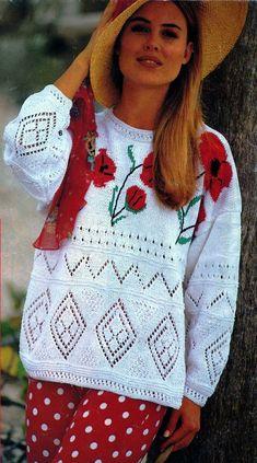 Ажурный пуловер с маками