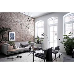 Gravity Home: Scandinavian living room with exposed brick wall Interior Design Living Room, Living Room Designs, Living Room Furniture, Living Room Decor, Living Room Brick Wall, Furniture Nyc, Cheap Furniture, Office Furniture, Style At Home