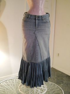 Denim skirt from jeans with fabric panel added. Awesome!