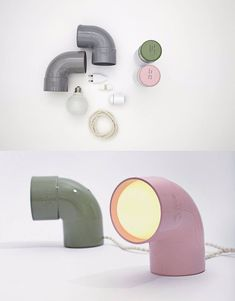 Lámpara con tubería de PVC - Table lamp DIY made of plastic tube - Home Goods Decor, Diy Home Decor, Home Design Diy, Design Ideas, Lamp Design, Lighting Design, Lampe Industrial, Industrial Lighting, Diy Luz