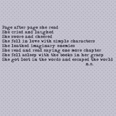 """rather like """"she lost herself in the worlds and escaped the world""""  more like, """"she got lost in the worlds and escaped the world""""        Self pity on pinterest 