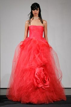 Strawberry Red color colored wedding dresses tulle dresses 2014 wedding trend