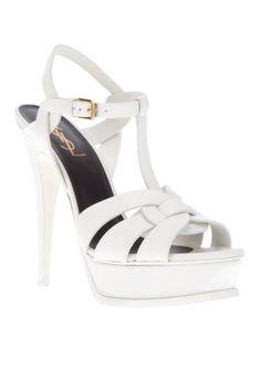 The hottest summer sandals: White Yves Saint Laurent Tribute platforms