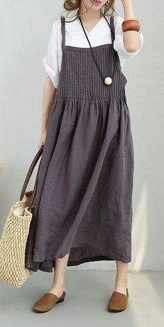 bc409e57a9b SUMMER A LINE LOOSE LINEN SUSPENDER DRESSES WOMEN CLOTHES877 Dots Clothing