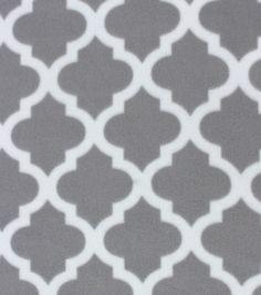 Blizzard Fleece Fabric Gray Moroccan Tile