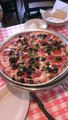 Gluten free pizza, Italian sausage, pepperoni, green peppers, black olives. Argiero's Italian Restaurant, Ann Arbor, MI. 6*