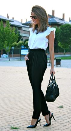 I own the lose black pants with a adorable bow sash to hold them up, as well as a pair of short grey guess heels. I could wear with an express flowing tee and grey nine west bag. Or I could gain a new black bag and black heels ;)