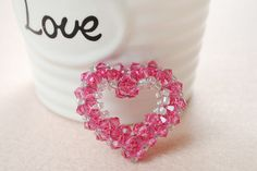 HOW TO MAKE A 3D CRYSTAL BEADED HEART PENDANT STEP BY STEP by PandaHall featured in Bead-Patterns.com