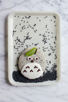Totoro Black Sesame Shortbread by Animal Themed Food, Cute Food, Yummy Food, Black Sesame, Cut Out Cookies, Shaped Cookie, Egg Shape, Brownie Bar, Bento Box