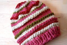 Striped Girls Strawberry Shortcake Ski Knit Hat by melissahager, $30.00 #toddlerhat #kidsknits