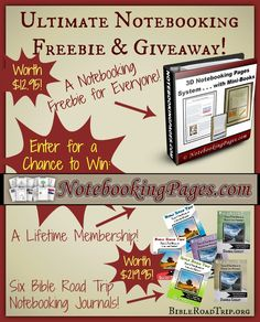 Ultimate Notebooking Freebie and Giveaway - Ends Sept 19 2014 1159pm PST (Gift: 3D Notebooking System. Giveaway: Lifetime Membership NotebookingPages.com and 6 Bible Road Trip Journals)
