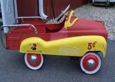 Vintage Coca Cola pedal car FOLLOW THIS BOARD FOR GREAT COKE OR ANY OF OUR OTHER COCA COLA BOARDS. WE HAVE A FEW SEPERATED BY THINGS LIKE CANS, BOTTLES, ADS. AND MORE...CHECK 'EM OUT!! Anthony Contorno Sr