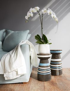 Africa Lozi Mortar Stool with blue & white stripes. #Sidetable #Living #interior #Home  Browse More from Nomad Tribe: https://www.originals.com.sg/collections/nomad-tribe