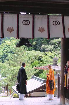 Japanese monk and priest at Hase-dera, Nara, Japan