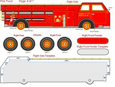 FREE Printable 3-D Paper Fire Truck - great for kids, teachers and parents