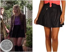 Shop Your Tv: Pretty Little Liars: Season 3 Episode 18 Hanna's Leather Circle Skirt Lying Game, Pretty Little Liars Seasons, Fashion Tv, College Girls, My Outfit, Skater Skirt, Tv Shows, Style Inspiration, Pll