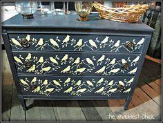 Graphite dresser with craft paint stencil