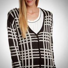 """Blu Pepper Long Plaid Cardigan Ivory/Black from Nordstrom Rack! V-neck, snap button front closure, long sleeves, ribbed trim, """"oversized"""" type fit.  Happy Poshing! (x trade) Blu Pepper Sweaters Cardigans"""