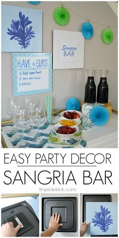 Easy entertaining ideas- Sangria Bar Don't be afraid to switch out your wall decor to go with your party theme. These wall tiles make it so easy.