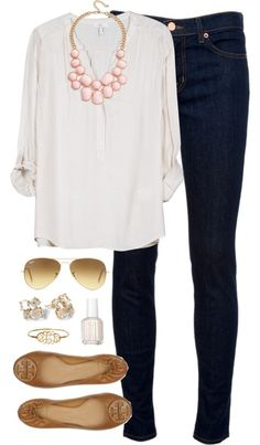 the basic denim, white, and camel with a light splash of peach