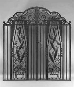PAUL KISS (1885-1962)  A pair of wrought iron gates, est of $25,000 - $35,000.  These are so lovely, I'd live in a trailer just to afford these :)
