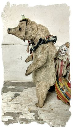 "Image of 10"" old worn teddy bear double jointed neck by Whendi's Bears"