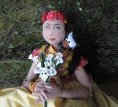 18 in cloth Frida Kahlo doll. https://www.facebook.com/ChicoDollStudio