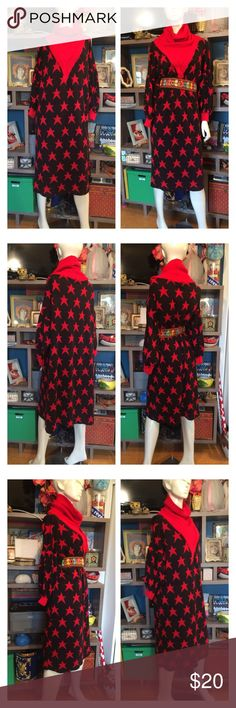 """Star Print Oversized Cowl Neck Knit Sweater Dress 🍓Awesome oversized sweater dress - so big n comfy but give it a little pizazz by adding a funky belt! (Not included)  Cowl neck, Dolman sleeves  Fits medium oversized up to XL   🍓Approx Measurements laid flat-  (double where necessary)  Shoulder to shoulder: 29"""" Underarm to underarm: 27"""" Waist: 26"""" Hips: 28"""" Shoulder to Hem: 41"""" Sleeve: 14""""  (posh only) Kittens Dresses"""