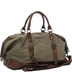 Vagabond Traveler Classic Antique Style Cotton Canvas Medium Duffle Gym Bag - eBags.com