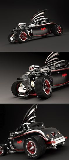 Fashion and Action: Wicked Render of Medri's 50's Rockabilly Hot Rod Batmobile #Cars-Motorcycles