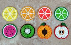 Set of 8 fruit-themed Perler bead coasters by jennionenote on Etsy