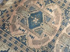 Vintage Turkmen Tribal Copper-Blue Rug 7'5 x