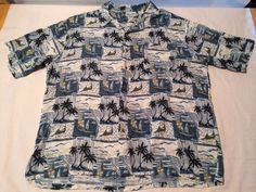 Mens XXL Hawaiian Shirt Island Blue with Palm Trees, Sailboats SS Fathers Day #IslandBlue #Hawaiian