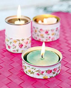 How to Make a Candle Holder out of a Tin Can - 5 DIY Tutorials. Recycled crafts are more fashionable than ever before, and some materials that you use on a daily basis can help you to. Tin Can Crafts, Crafts To Make, Diy Crafts, Tin Can Lanterns, Diy Recycling, Deco Champetre, Diy Candles, Recycled Crafts, Candle Making