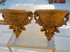 Homco Ornate Gold Wall Pockets / Sconces Set Two / Gold Wall