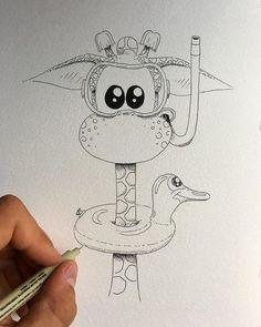 Kimali ready to jump in! 🦒🌊😍 Kimali ready to jump in! Pencil Art Drawings, Kawaii Drawings, Disney Drawings, Easy Drawings, Animal Drawings, Doodle Art Drawing, Painting & Drawing, Cute Drawings Tumblr, Cute Sketches