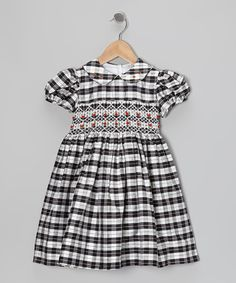 Take a look at this Black Hailey Plaid Silk Dress - Girls on zulily today!