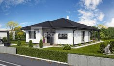 rodinný dom s obytnou plochou cez 70m2 Laguna 30N, vizuál, zrkadlový 1, Promiprojekt House Front Design, Design Case, Home Fashion, Bungalow, Shed, Outdoor Structures, Mansions, House Styles, Outdoor Decor