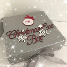 Christmas Eve Box with personalised bauble silver and red By Epiphany Designs NI