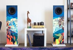 Colorful pair of speakers in a living room - Urban Fidelity - Stereo speakers that pass for art