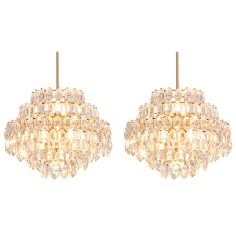 Stunning Pair of Seven-Tier Crystal Glass Bakalowits Chandeliers | From a unique collection of antique and modern chandeliers and pendants at https://www.1stdibs.com/furniture/lighting/chandeliers-pendant-lights/