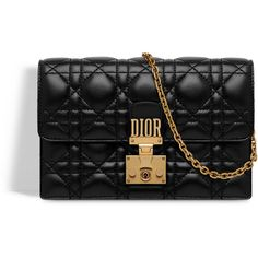 06a1515ec0b8 Dioraddict wallet on chain clutch in black lambskin with cannage motif... ❤  liked