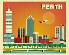 Perth, Australia Skyline 8 x 10 Poster Wall City Art for Homes, Gifts, and Nursery - style - America Images, Perth Australia, Australia Travel, Vintage Travel Posters, Retro Posters, City Art, Modern Prints, Poster Wall, Art Images