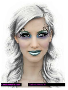 Artistic colorful make-up with black swirls and small crystal accents.
