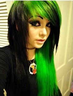 There's just something about this style of hair that makes me love it even though it's not 2008. Plus, that neon green is my favorite color.