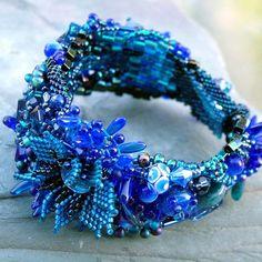 #beadwork #freeform  Midnight Freeform Peyote Bracelet by MoonBrookDesigns on Etsy,