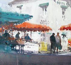 Joseph Zbukvic watercolor, France